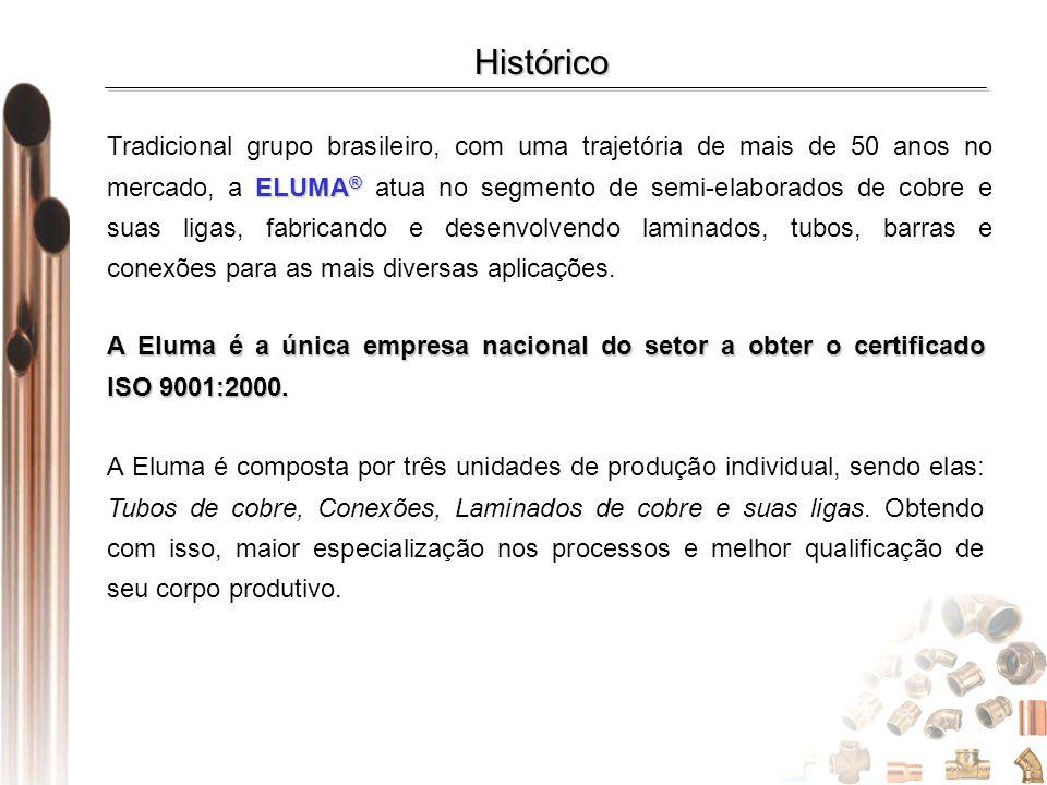 Histórico ELUMA ® Tradicional grupo brasileiro, com uma trajetória de mais de 50 anos no mercado, a ELUMA ® atua no segmento de semi-elaborados de cob