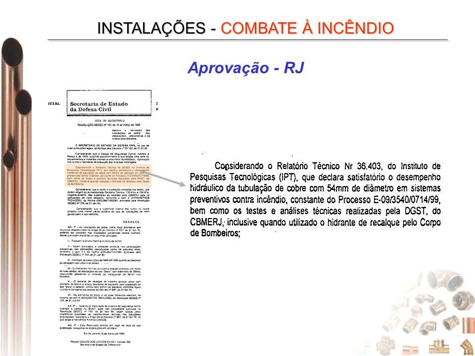 INSTALAÇÕES - COMBATE À INCÊNDIO Aprovação - RJ