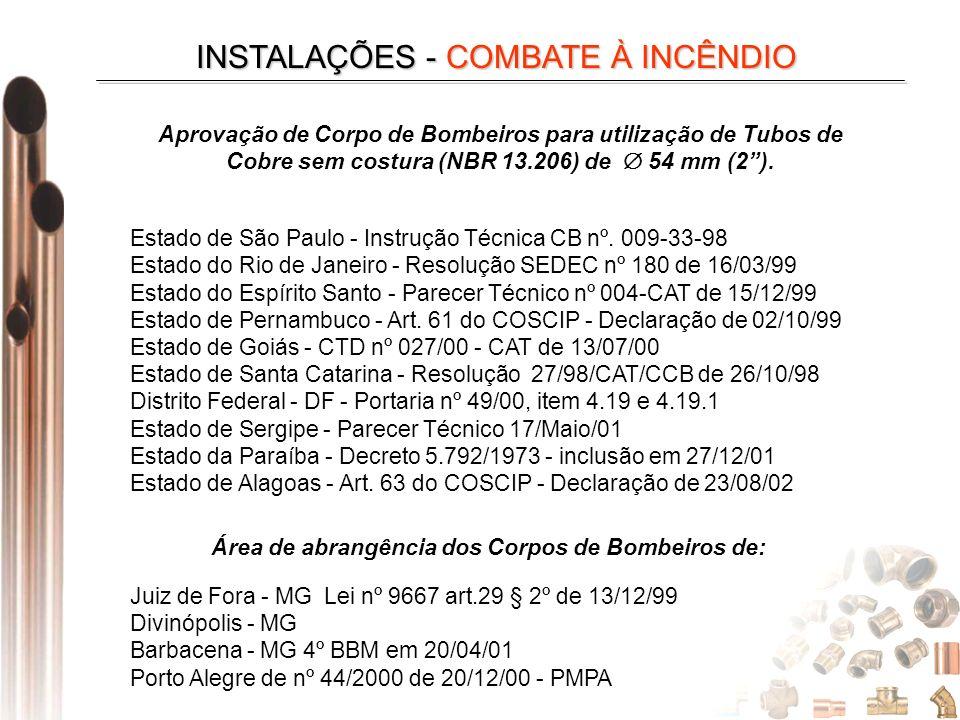 Aprovação de Corpo de Bombeiros para utilização de Tubos de Cobre sem costura (NBR 13.206) de 54 mm (2). Estado de São Paulo - Instrução Técnica CB nº