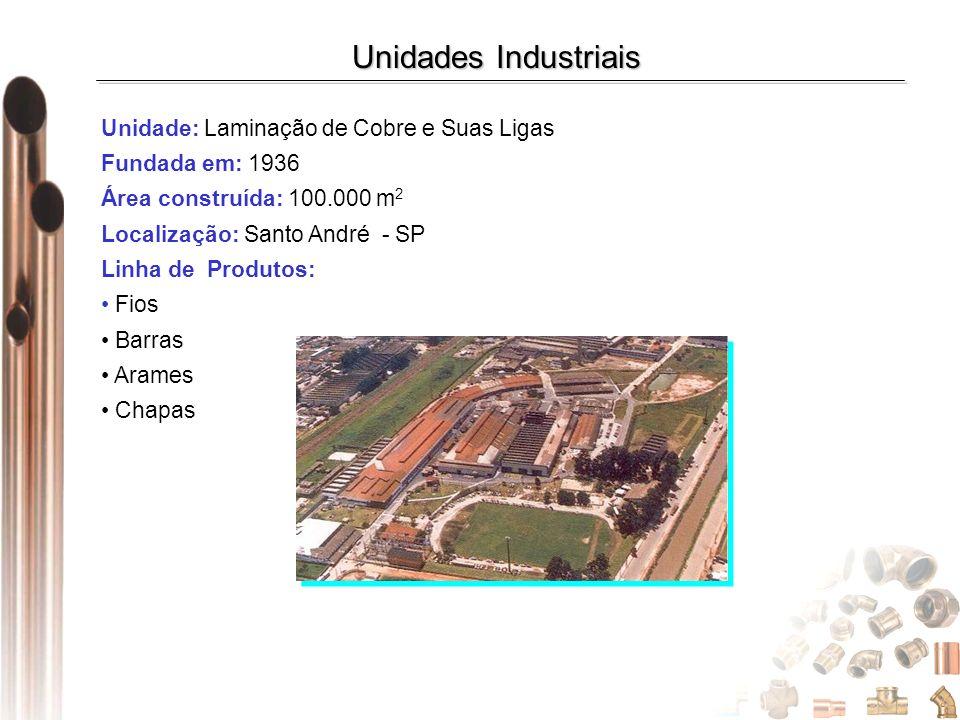 Unidade: Laminação de Cobre e Suas Ligas Fundada em: 1936 Área construída: 100.000 m 2 Localização: Santo André - SP Linha de Produtos: Fios Barras Ar