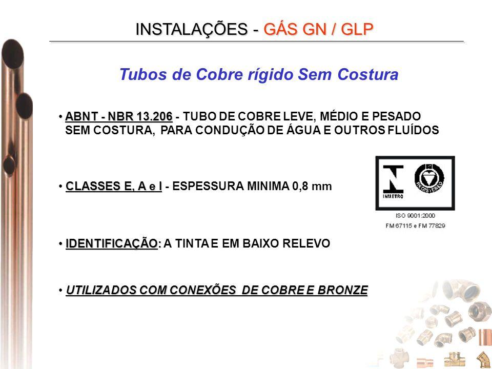 INSTALAÇÕES - GÁS GN / GLP Tubos de Cobre rígido Sem Costura CLASSES E, A e I CLASSES E, A e I - ESPESSURA MINIMA 0,8 mm IDENTIFICAÇÃO: IDENTIFICAÇÃO: