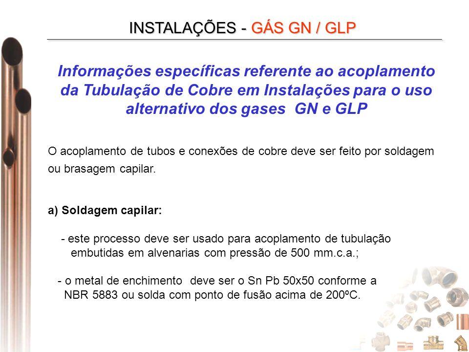 INSTALAÇÕES - GÁS GN / GLP Informações específicas referente ao acoplamento da Tubulação de Cobre em Instalações para o uso alternativo dos gases GN e