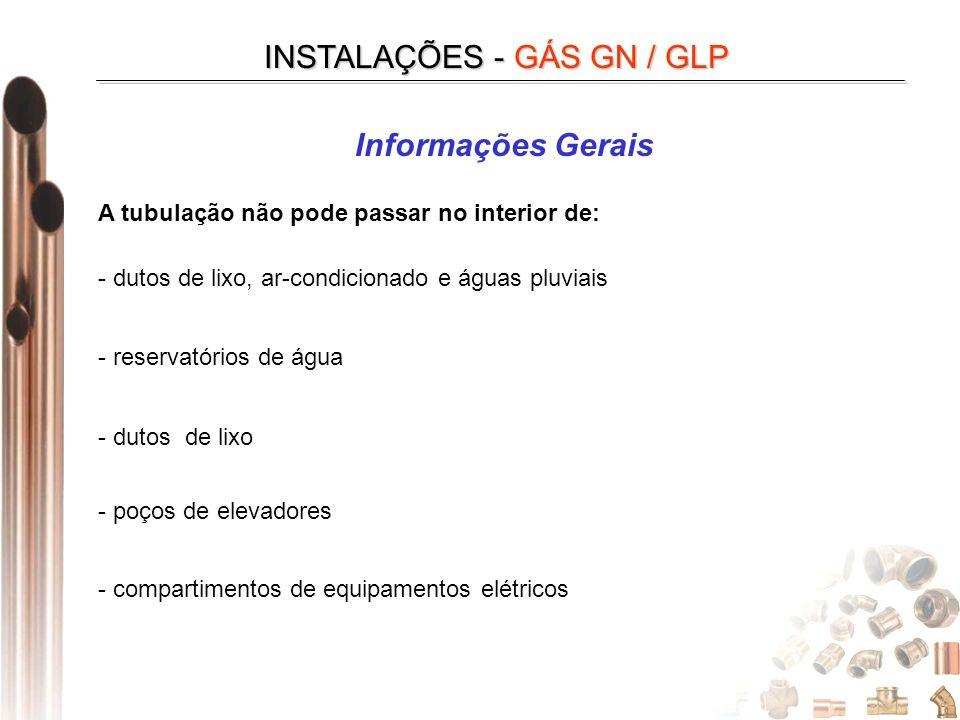 INSTALAÇÕES - GÁS GN / GLP Informações Gerais A tubulação não pode passar no interior de: - dutos de lixo, ar-condicionado e águas pluviais - reservatórios de água - dutos de lixo - poços de elevadores - compartimentos de equipamentos elétricos