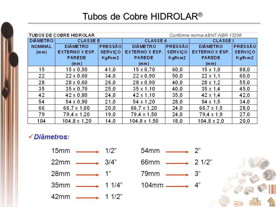 Diâmetros: Diâmetros: 42mm 1 1/2 15mm 1/254mm 2 22mm 3/466mm 2 1/2 28mm 179mm 3 35mm 1 1/4104mm 4