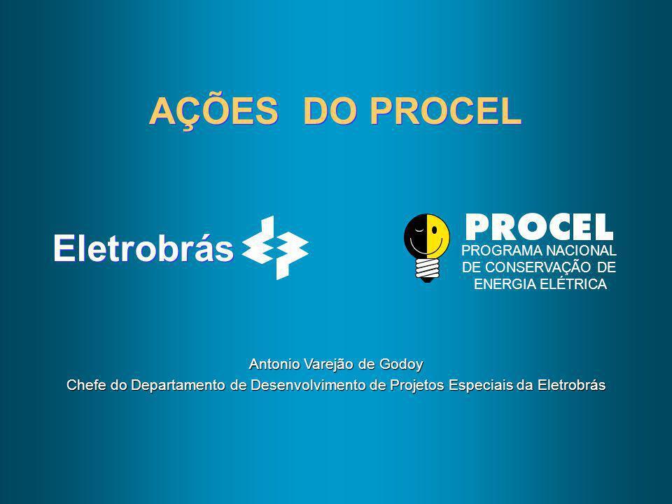 Eletrobrás PROGRAMA NACIONAL DE CONSERVAÇÃO DE ENERGIA ELÉTRICA AÇÕES DO PROCEL Antonio Varejão de Godoy Chefe do Departamento de Desenvolvimento de P