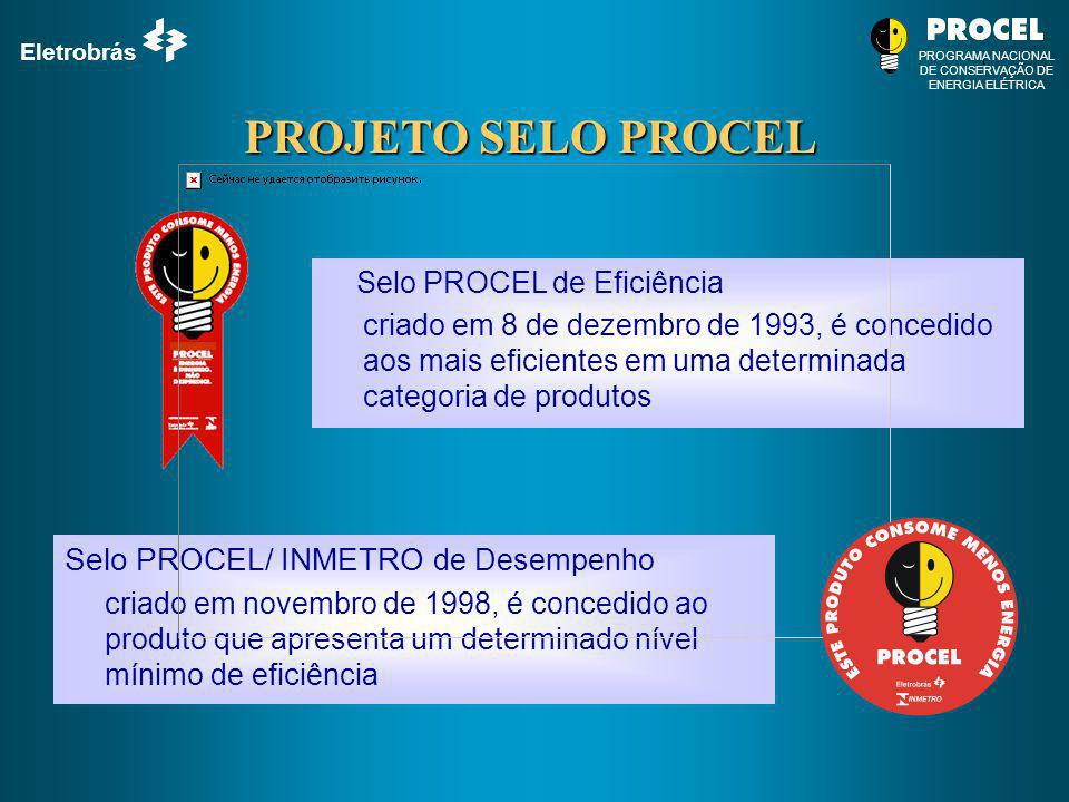 Eletrobrás PROGRAMA NACIONAL DE CONSERVAÇÃO DE ENERGIA ELÉTRICA PROJETO SELO PROCEL Selo PROCEL de Eficiência criado em 8 de dezembro de 1993, é conce
