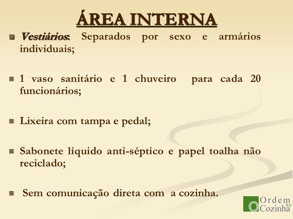 ÁREA INTERNA Vestiários: Vestiários: Separados por sexo e armários individuais; 1 vaso sanitário e 1 chuveiro para cada 20 funcionários; Lixeira com t