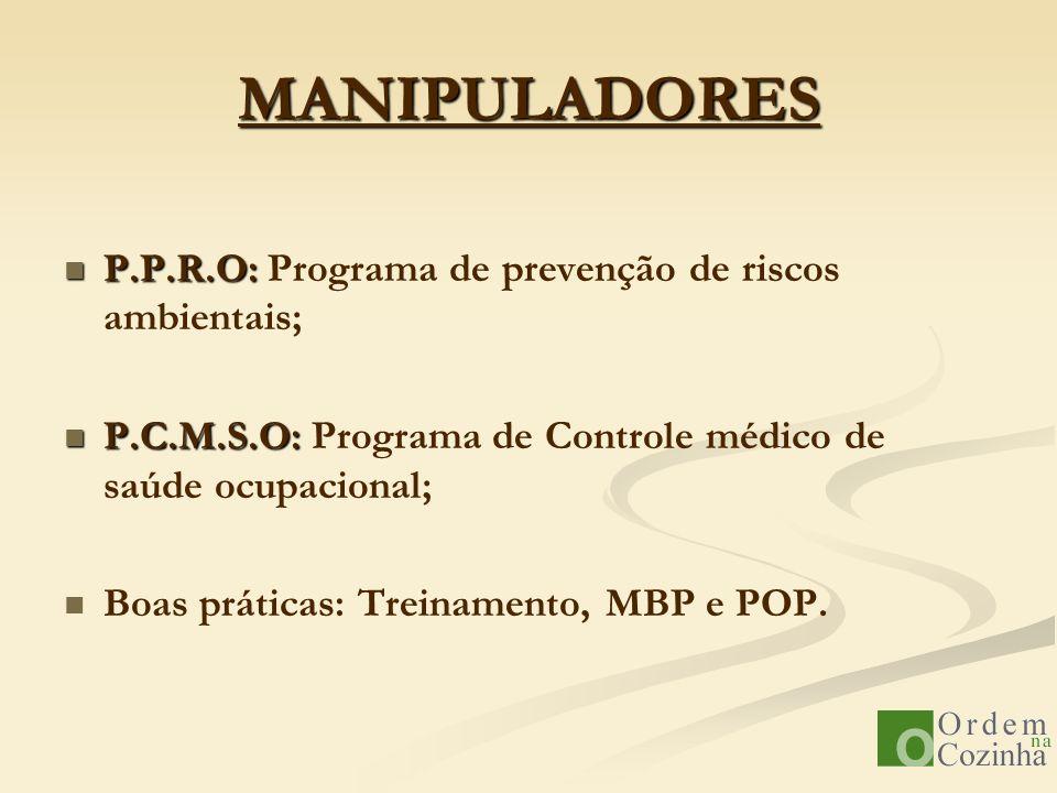 MANIPULADORES P.P.R.O: P.P.R.O: Programa de prevenção de riscos ambientais; P.C.M.S.O: P.C.M.S.O: Programa de Controle médico de saúde ocupacional; Bo