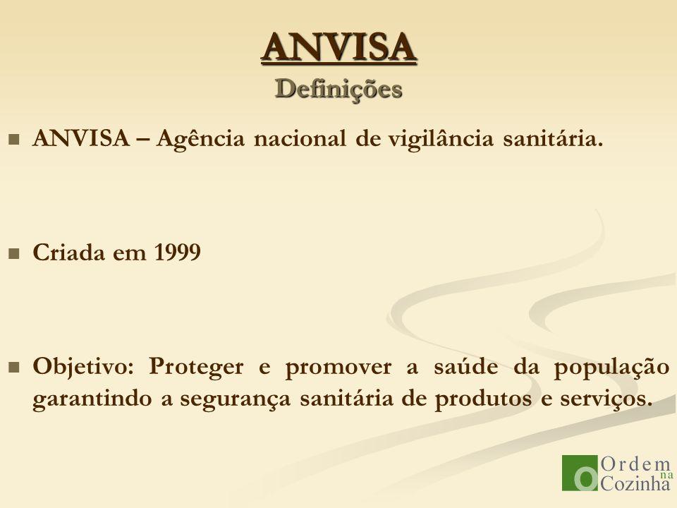 ANVISA Definições ANVISA – Agência nacional de vigilância sanitária. Criada em 1999 Objetivo: Proteger e promover a saúde da população garantindo a se