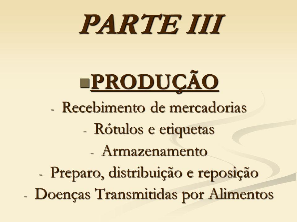 PARTE III PRODUÇÃO PRODUÇÃO - Recebimento de mercadorias - Rótulos e etiquetas - Armazenamento - Preparo, distribuição e reposição - Doenças Transmiti