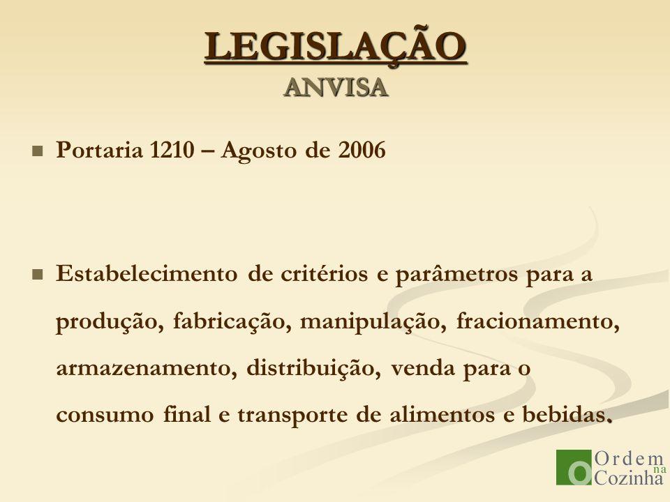 LEGISLAÇÃO ANVISA Portaria 1210 – Agosto de 2006. Estabelecimento de critérios e parâmetros para a produção, fabricação, manipulação, fracionamento, a