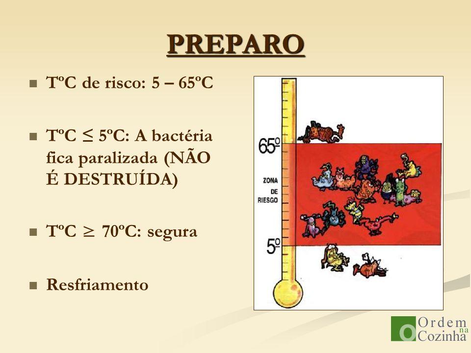 PREPARO TºC de risco: 5 – 65ºC TºC 5ºC: A bactéria fica paralizada (NÃO É DESTRUÍDA) TºC 70ºC: segura Resfriamento