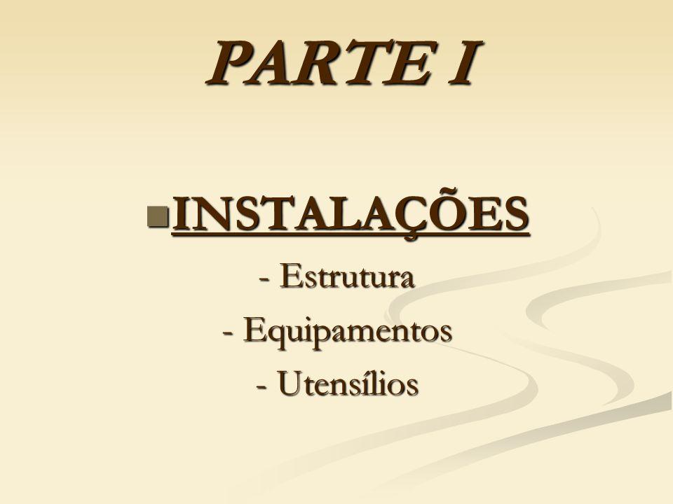 PARTE I INSTALAÇÕES INSTALAÇÕES - Estrutura - Equipamentos - Utensílios