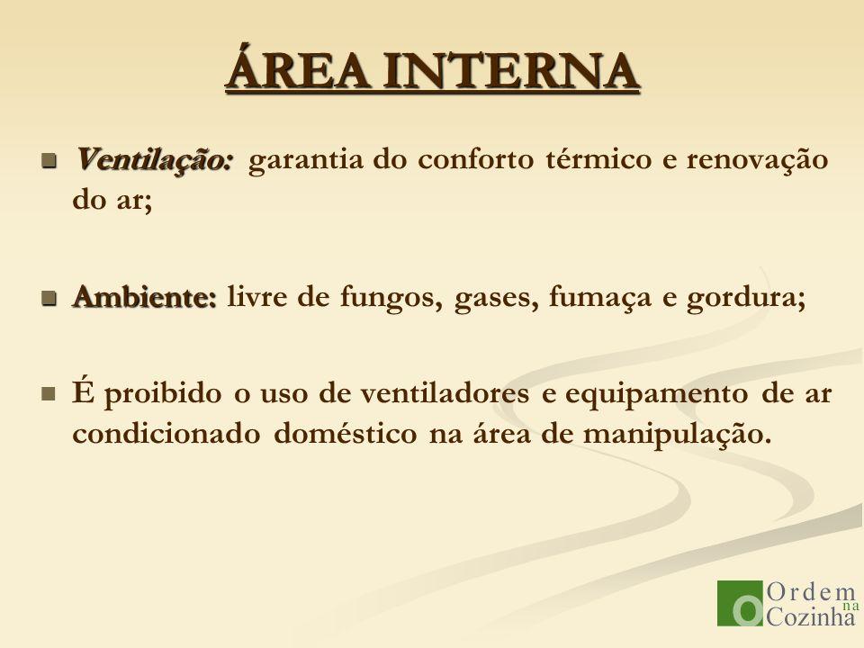 ÁREA INTERNA Ventilação: Ventilação: garantia do conforto térmico e renovação do ar; Ambiente: Ambiente: livre de fungos, gases, fumaça e gordura; É p