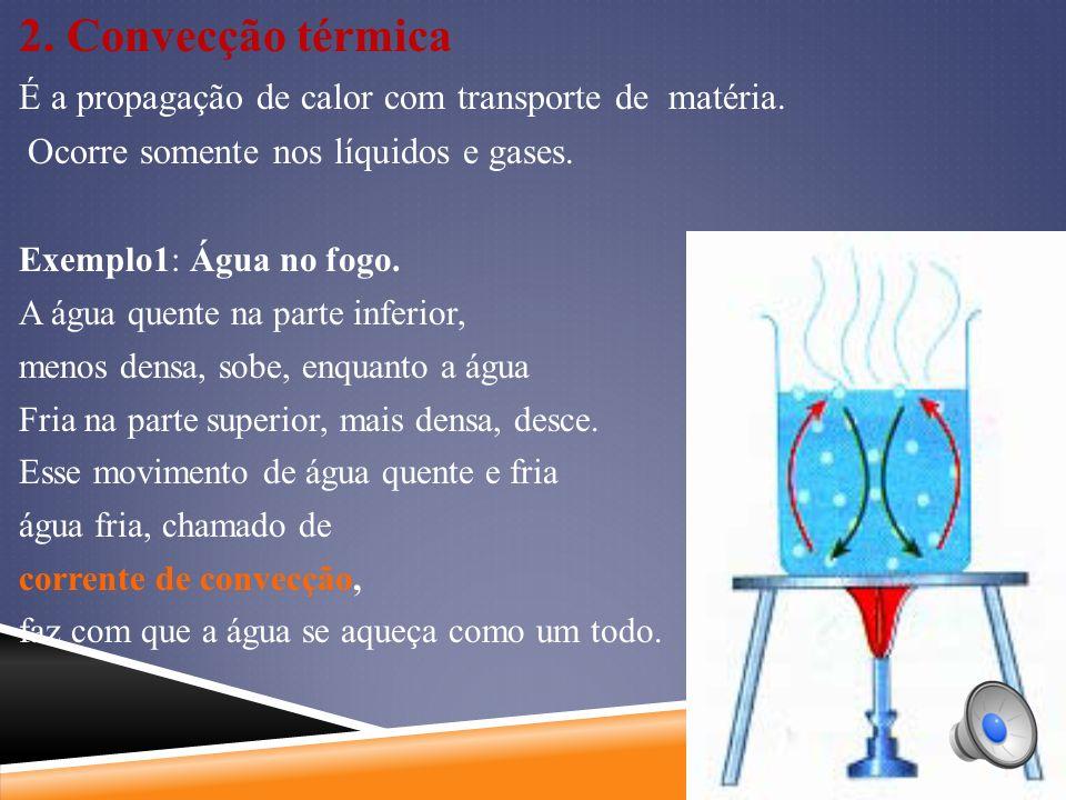 2.Convecção térmica É a propagação de calor com transporte de matéria.