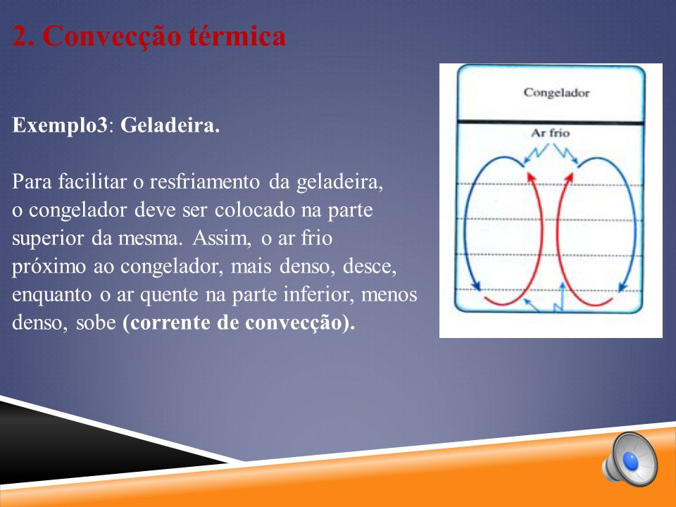 2.Convecção térmica Exemplo3: Geladeira.