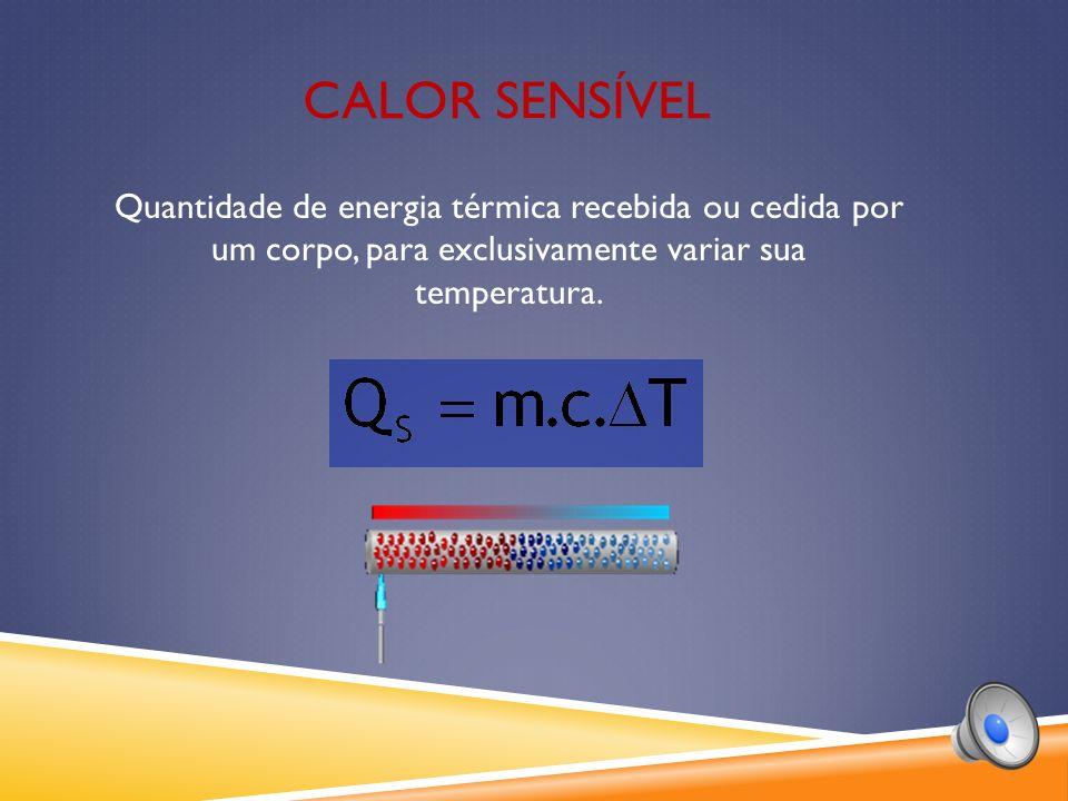 CALOR SENSÍVEL Quantidade de energia térmica recebida ou cedida por um corpo, para exclusivamente variar sua temperatura.