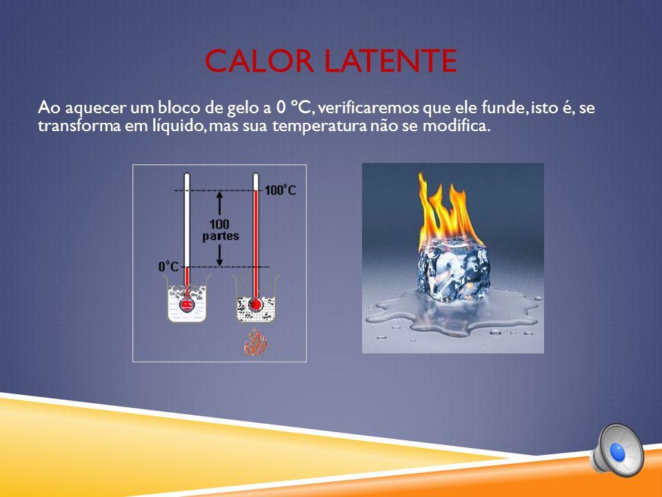 Ao aquecer um bloco de gelo a 0 ºC, verificaremos que ele funde, isto é, se transforma em líquido, mas sua temperatura não se modifica.