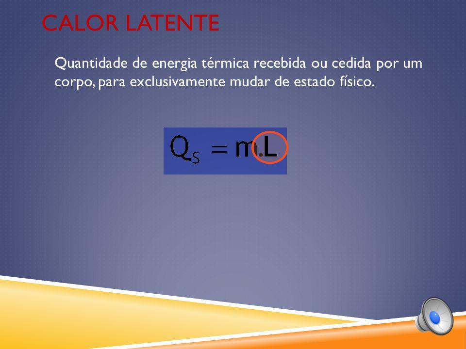 Quantidade de energia térmica recebida ou cedida por um corpo, para exclusivamente mudar de estado físico.