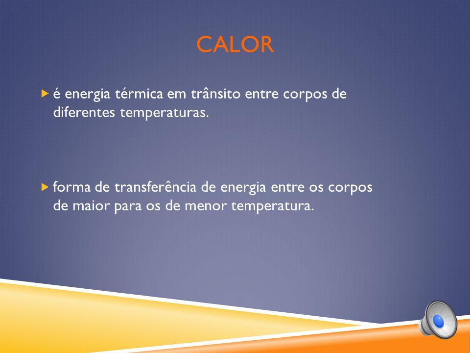 CALOR forma de transferência de energia entre os corpos de maior para os de menor temperatura.