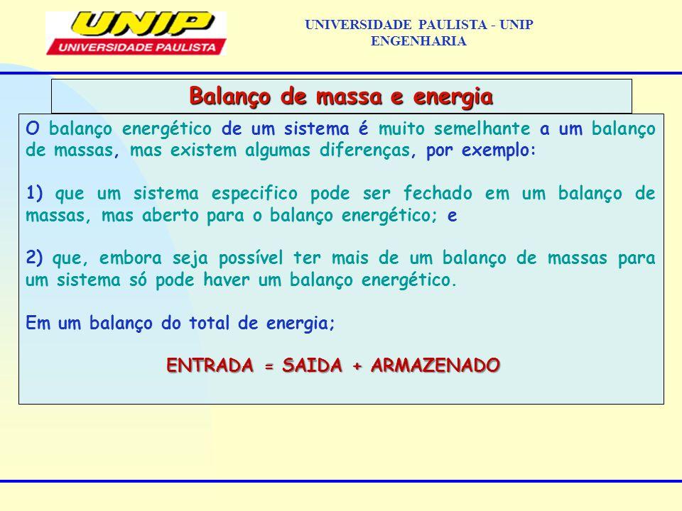 O balanço energético de um sistema é muito semelhante a um balanço de massas, mas existem algumas diferenças, por exemplo: 1) que um sistema especific