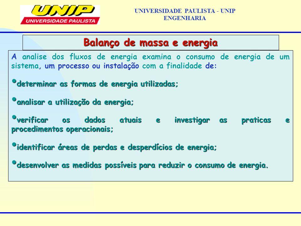 A analise dos fluxos de energia examina o consumo de energia de um sistema, um processo ou instalação com a finalidade de: determinar as formas de ene