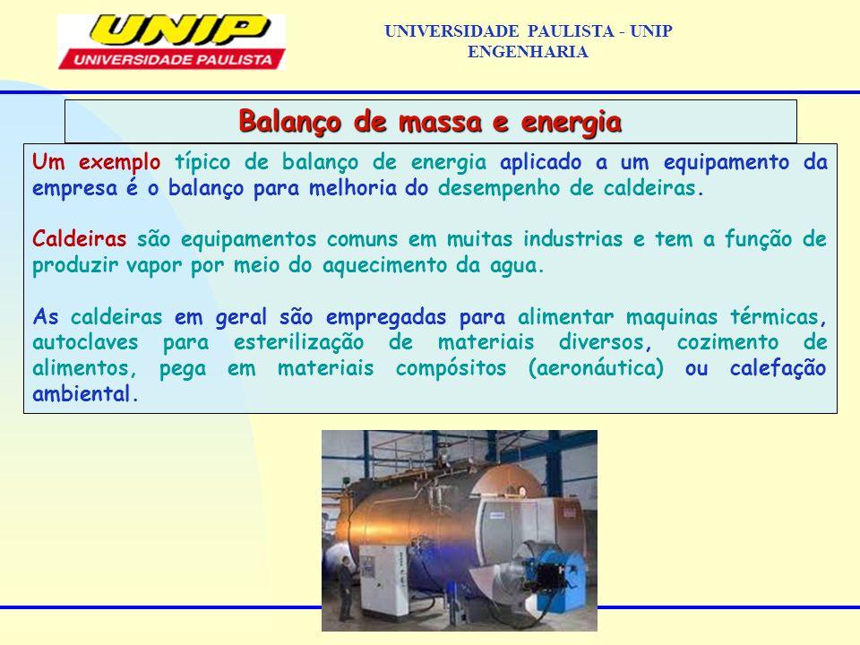 Um exemplo típico de balanço de energia aplicado a um equipamento da empresa é o balanço para melhoria do desempenho de caldeiras. Caldeiras são equip