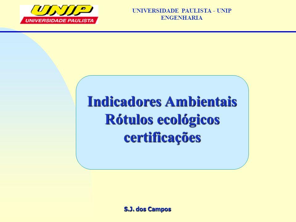 S.J. dos Campos UNIVERSIDADE PAULISTA - UNIP ENGENHARIA Indicadores Ambientais Rótulos ecológicos certificações