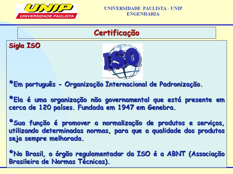 Sigla ISO Em português - Organização Internacional de Padronização. Em português - Organização Internacional de Padronização. Ela é uma organização nã