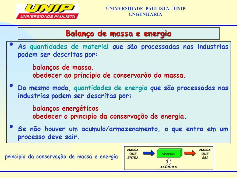 As quantidades de material que são processadas nas industrias podem ser descritas por: balanços de massa. obedecer ao principio de conservarão da mass