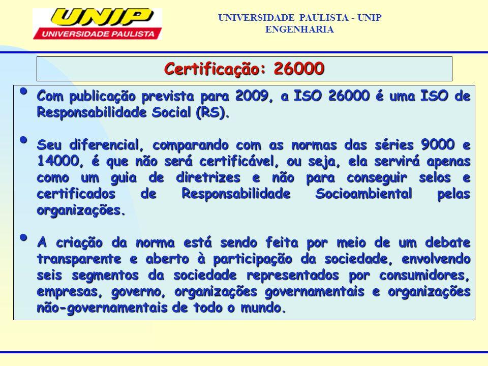 Com publicação prevista para 2009, a ISO 26000 é uma ISO de Responsabilidade Social (RS). Com publicação prevista para 2009, a ISO 26000 é uma ISO de
