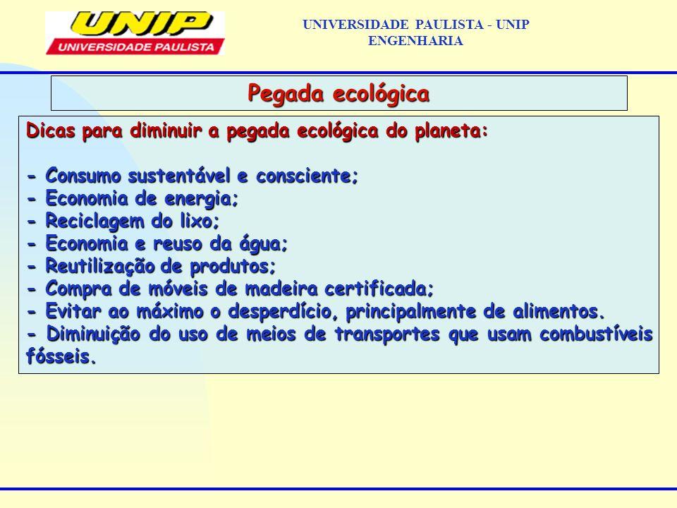 Dicas para diminuir a pegada ecológica do planeta: - Consumo sustentável e consciente; - Economia de energia; - Reciclagem do lixo; - Economia e reuso