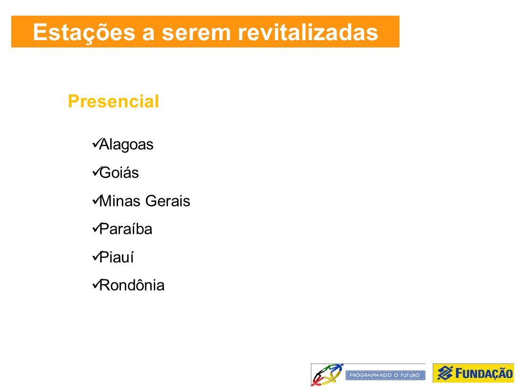 Estações a serem revitalizadas Presencial Alagoas Goiás Minas Gerais Paraíba Piauí Rondônia