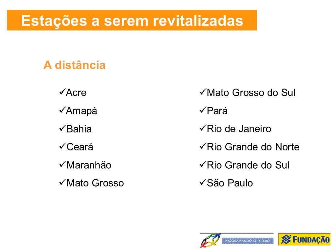 Estações a serem revitalizadas A distância Acre Amapá Bahia Ceará Maranhão Mato Grosso Mato Grosso do Sul Pará Rio de Janeiro Rio Grande do Norte Rio Grande do Sul São Paulo