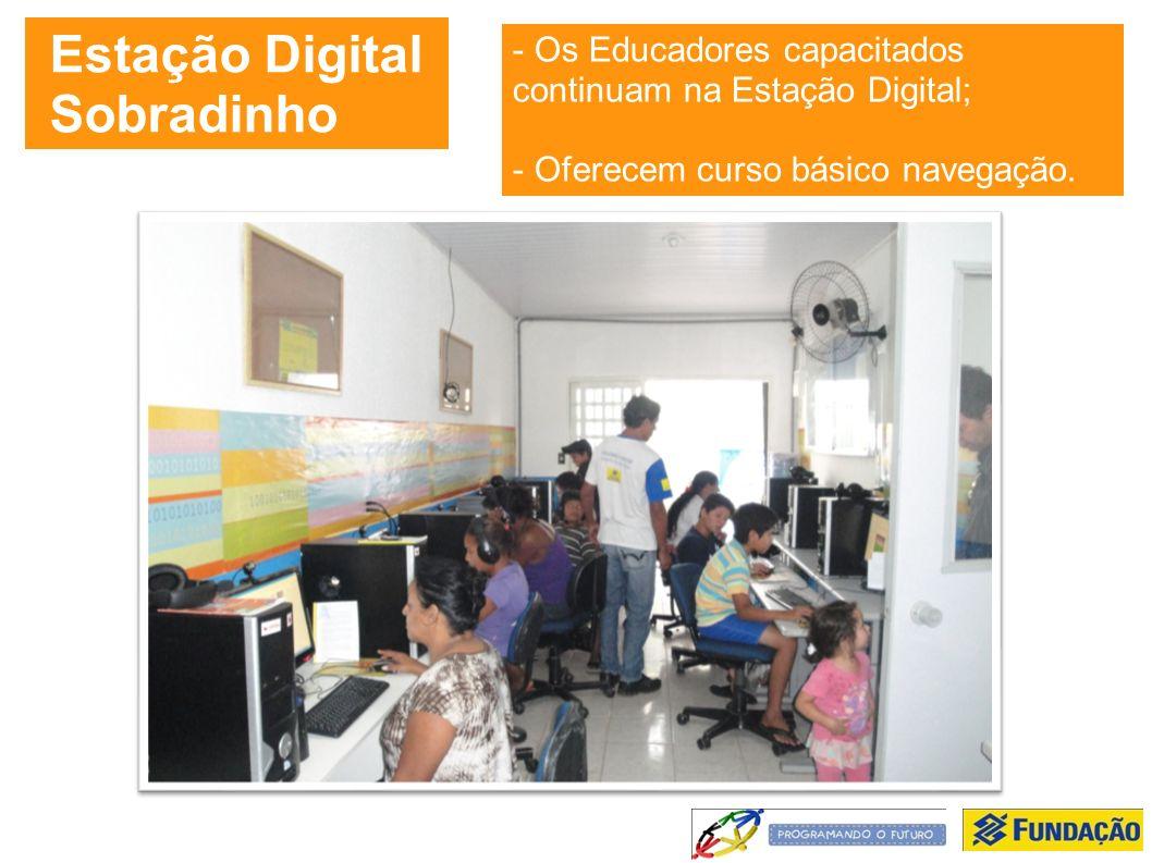 Estação Digital Sobradinho - Os Educadores capacitados continuam na Estação Digital; - Oferecem curso básico navegação.
