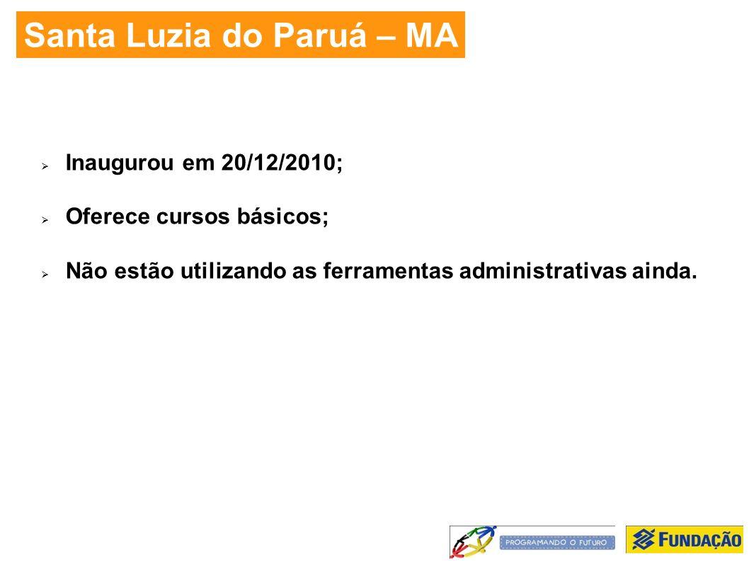 Santa Luzia do Paruá – MA Inaugurou em 20/12/2010; Oferece cursos básicos; Não estão utilizando as ferramentas administrativas ainda.