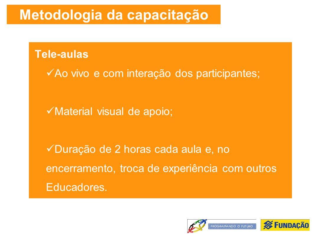 Metodologia da capacitação Tele-aulas Ao vivo e com interação dos participantes; Material visual de apoio; Duração de 2 horas cada aula e, no encerramento, troca de experiência com outros Educadores.