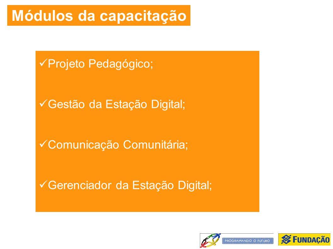 Módulos da capacitação Projeto Pedagógico; Gestão da Estação Digital; Comunicação Comunitária; Gerenciador da Estação Digital;
