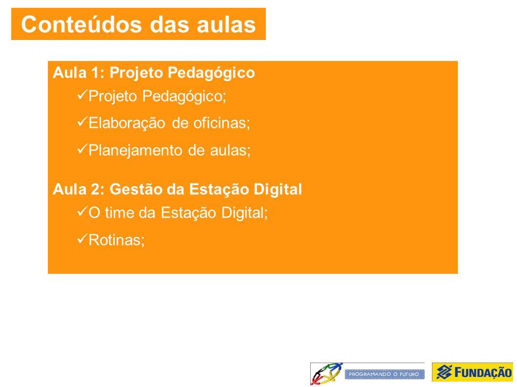 Conteúdos das aulas Aula 1: Projeto Pedagógico Projeto Pedagógico; Elaboração de oficinas; Planejamento de aulas; Aula 2: Gestão da Estação Digital O time da Estação Digital; Rotinas;