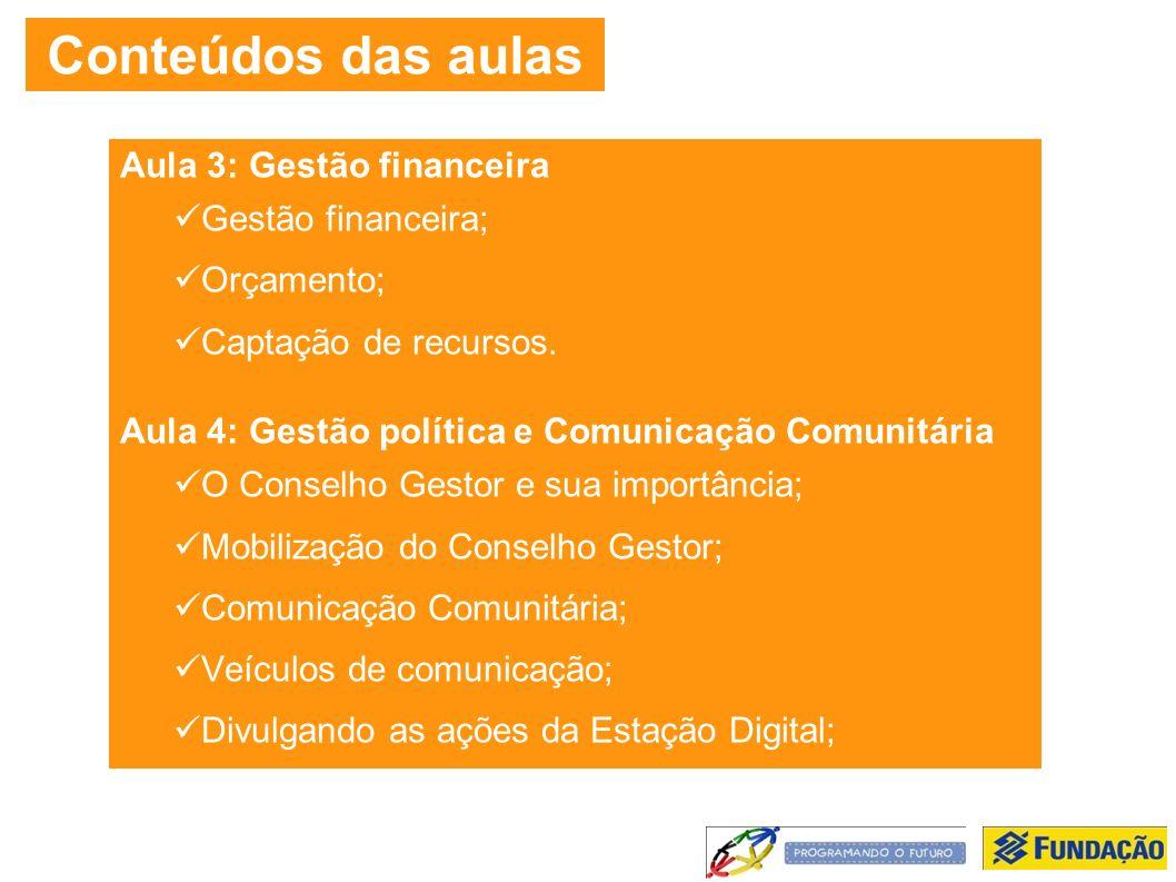 Conteúdos das aulas Aula 3: Gestão financeira Gestão financeira; Orçamento; Captação de recursos.