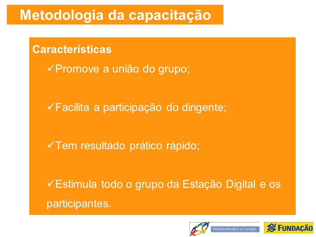 Metodologia da capacitação Características Promove a união do grupo; Facilita a participação do dirigente; Tem resultado prático rápido; Estimula todo o grupo da Estação Digital e os participantes.