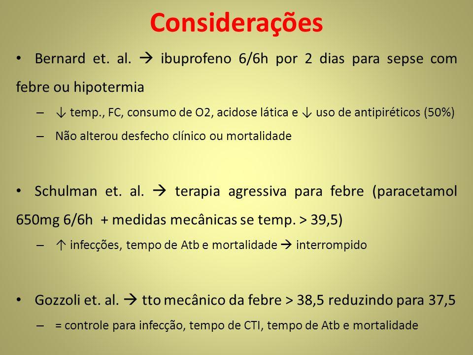 Considerações Bernard et. al. ibuprofeno 6/6h por 2 dias para sepse com febre ou hipotermia – temp., FC, consumo de O2, acidose lática e uso de antipi