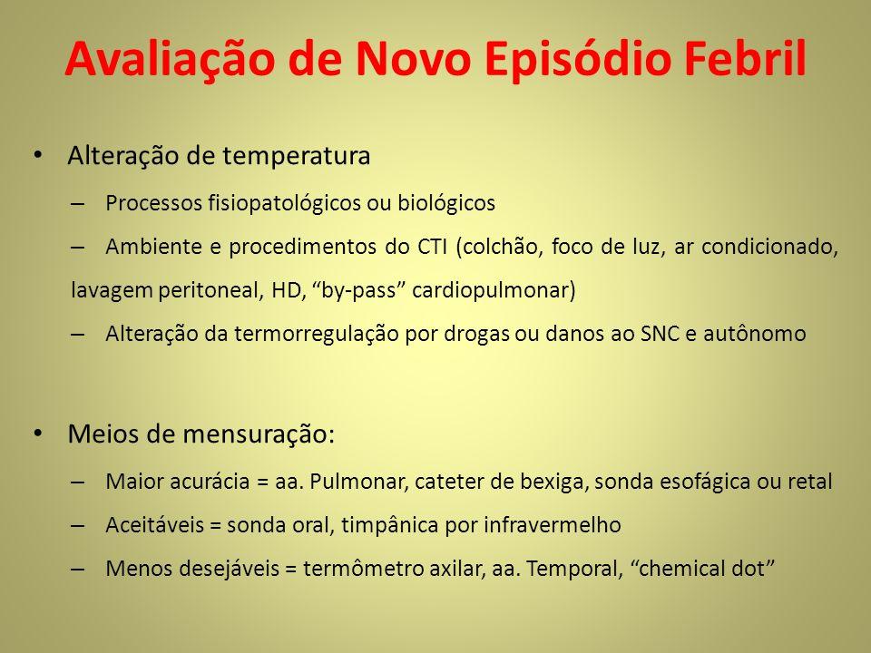 Avaliação de Novo Episódio Febril Alteração de temperatura – Processos fisiopatológicos ou biológicos – Ambiente e procedimentos do CTI (colchão, foco
