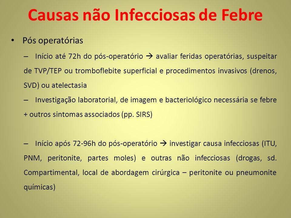 Causas não Infecciosas de Febre Pós operatórias – Início até 72h do pós-operatório avaliar feridas operatórias, suspeitar de TVP/TEP ou tromboflebite