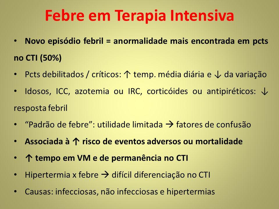 Febre em Terapia Intensiva Novo episódio febril = anormalidade mais encontrada em pcts no CTI (50%) Pcts debilitados / críticos: temp. média diária e