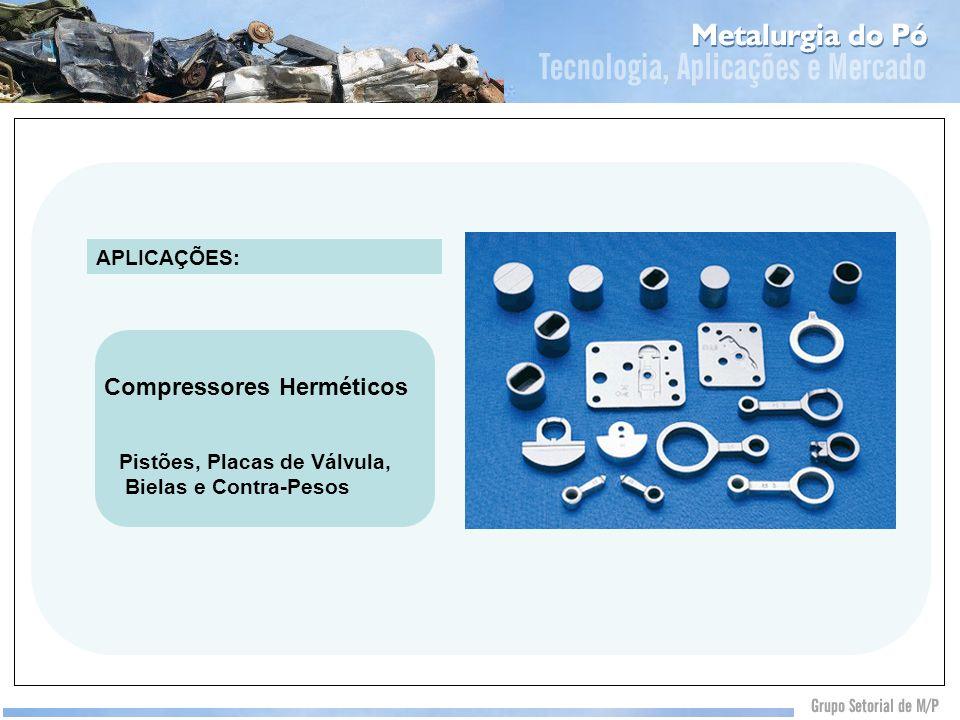 Pistões, Placas de Válvula, Bielas e Contra-Pesos APLICAÇÕES: Compressores Herméticos