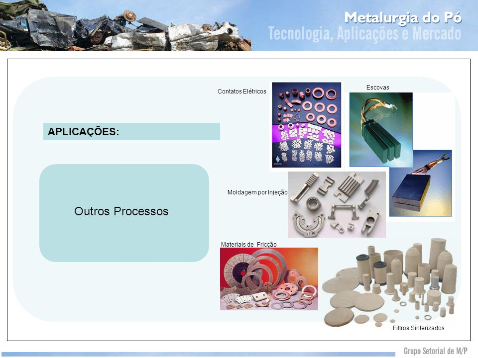 Outros Processos Contatos Elétricos Escovas Materiais de Fricção Filtros Sinterizados Moldagem por Injeção APLICAÇÕES: