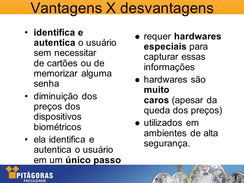 Vantagens X desvantagens identifica e autentica o usuário sem necessitar de cartões ou de memorizar alguma senha diminuição dos preços dos dispositivo