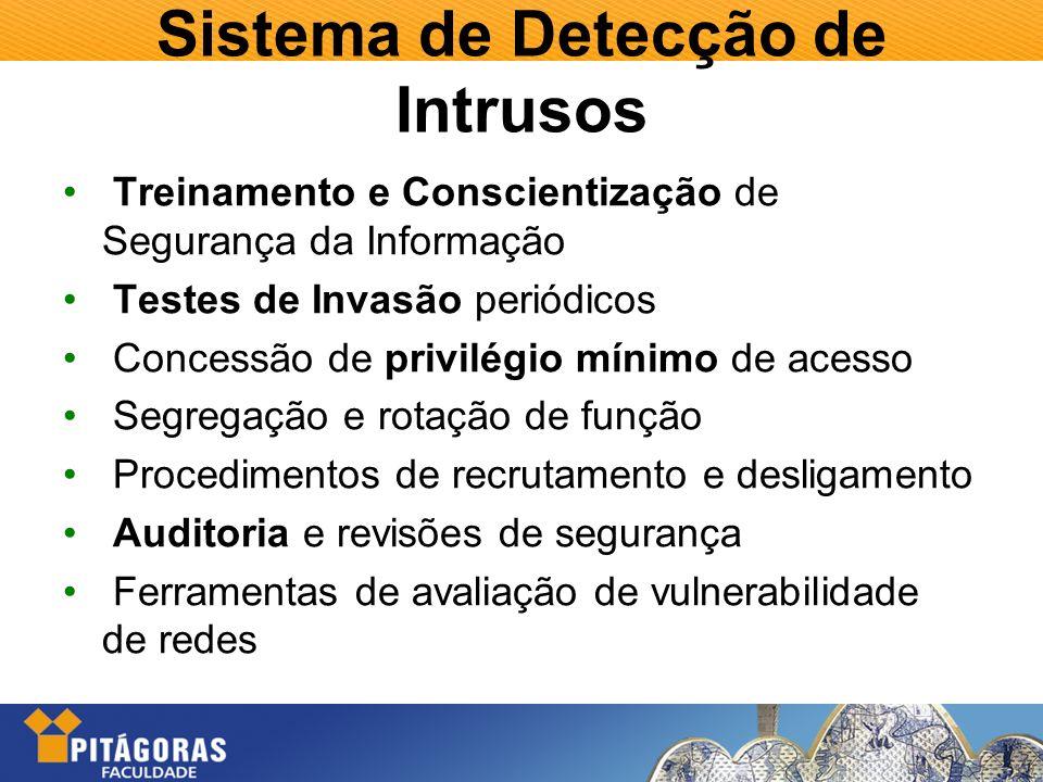 Sistema de Detecção de Intrusos Treinamento e Conscientização de Segurança da Informação Testes de Invasão periódicos Concessão de privilégio mínimo d