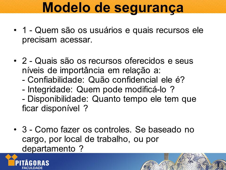 Modelo de segurança 1 - Quem são os usuários e quais recursos ele precisam acessar. 2 - Quais são os recursos oferecidos e seus níveis de importância
